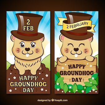 Cartoon groundhog bannières