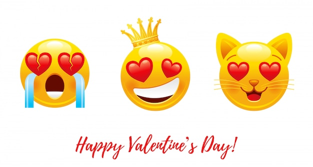 Cartoon happy valentine's day avec coeur amour emoji.