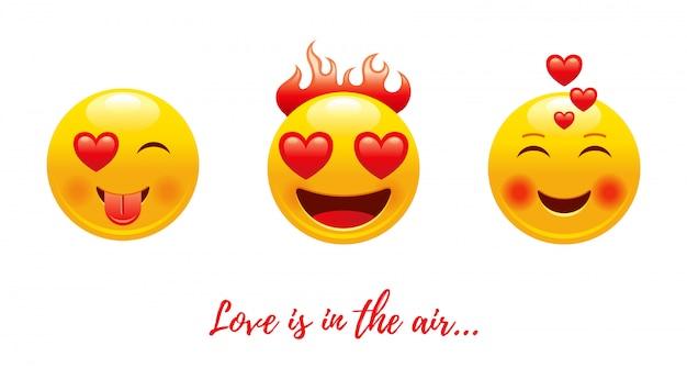 Cartoon happy valentine's day avec coeur amour emoji.