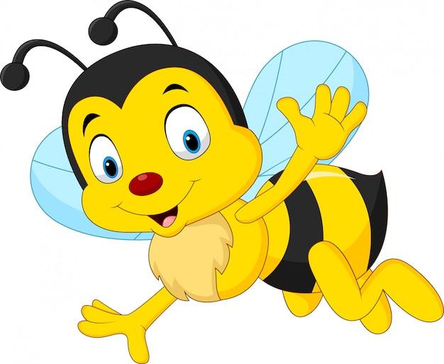 Cartoon heureux abeille agitant