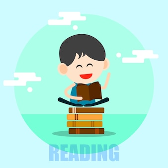 Cartoon heureux garçon lisant