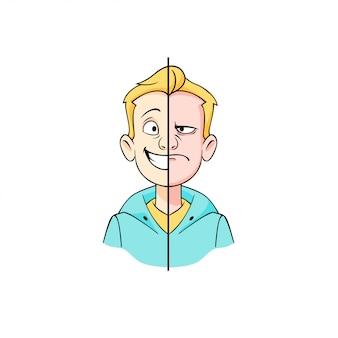 Cartoon hipster jeune homme avec la moitié de l'illustration graphique du visage heureux et en colère