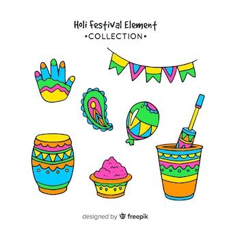 Cartoon holi festival element pack
