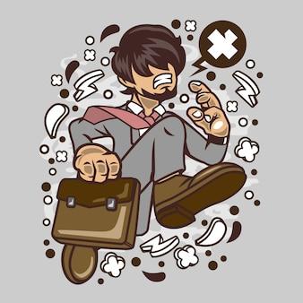 Cartoon homme d'affaires en cours d'exécution