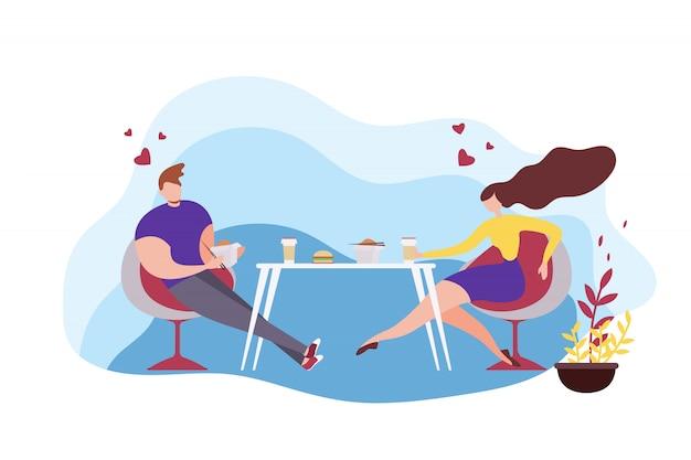 Cartoon homme et femme mangeant des plats asiatiques