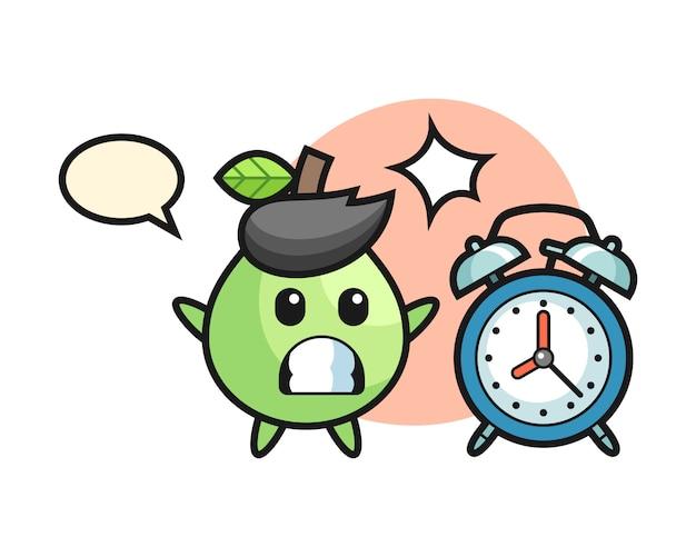 Cartoon illustration de goyave est surpris avec un réveil géant, style mignon pour t-shirt, autocollant, élément de logo