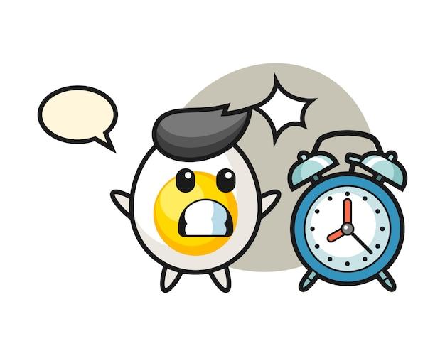 Cartoon illustration d'oeuf à la coque est surpris avec un réveil géant