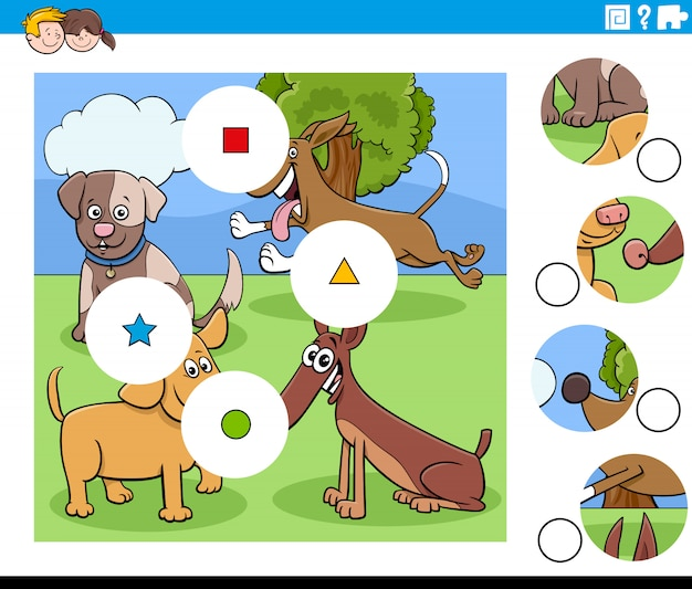 Cartoon illustration of educational match the pieces jigsaw puzzle task for children with dogs animal characters