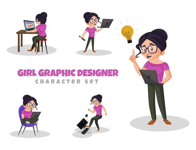 Cartoon illustration of girl graphic designer jeu de caractères