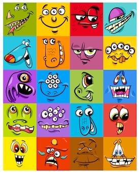 Cartoon illustration of jeu de personnages fantastiques monsters