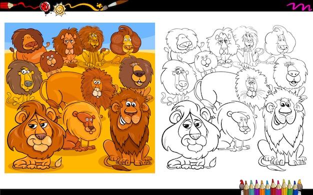 Cartoon illustration of lions caractères color book