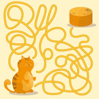Cartoon illustration of paths ou maze puzzle activity game avec chaton et crêpes