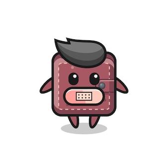 Cartoon illustration de portefeuille en cuir avec du ruban adhésif sur la bouche