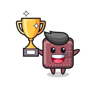 Cartoon illustration de portefeuille en cuir est heureux de tenir le trophée d'or