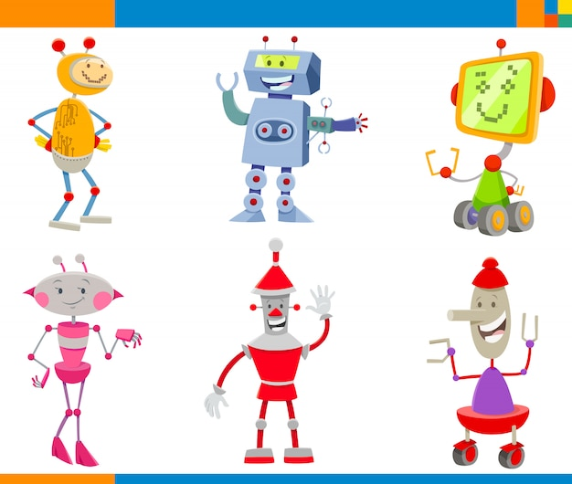 Cartoon illustrations of robots characters set