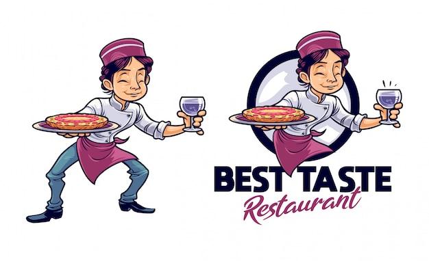 Cartoon jeune chef servant pizza et boisson logo mascotte personnage