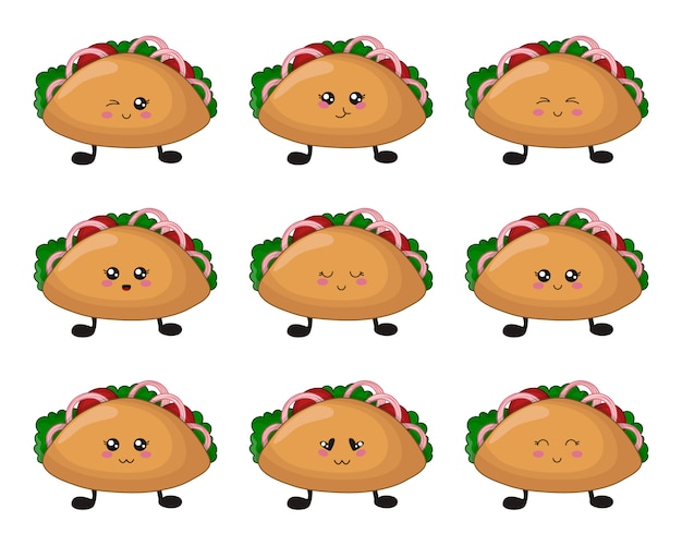 Cartoon kawaii fast food - ensemble de tacos avec emoji