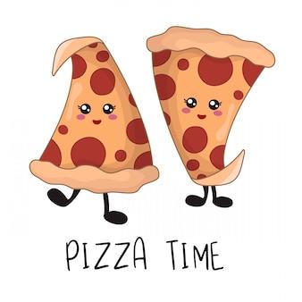 Cartoon kawaii fast food - morceaux de pizza au pepperoni