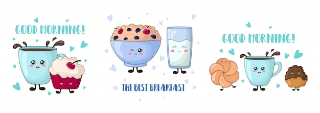 Cartoon kawaii food - gâteau aux cerises, porridge, lait, biscuits
