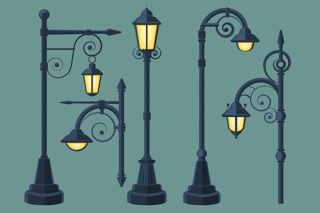 Cartoon, lampadaires vintage et modernes de bande dessinée vector ensemble