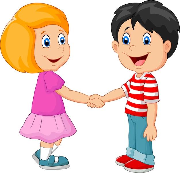 Cartoon leurs enfants en se tenant la main