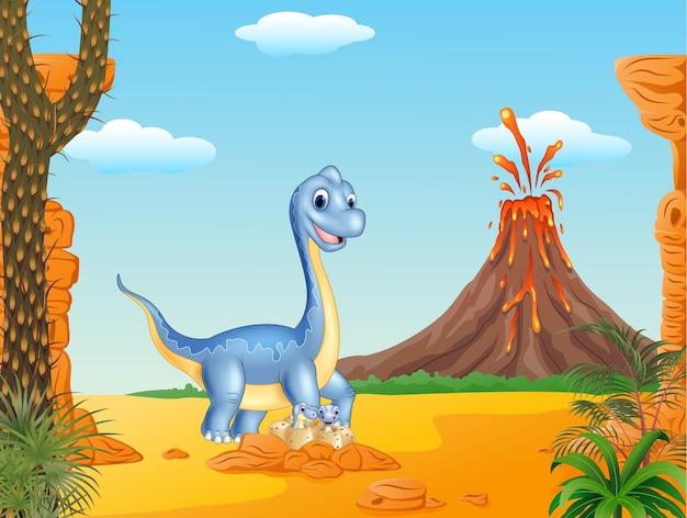 Cartoon maman et bébé dinosaure à couver