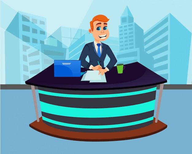 Cartoon man breaking news presenter en studio.