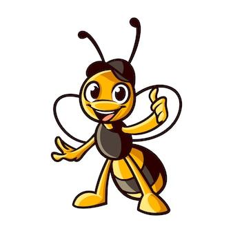 Cartoon mascotte bonne abeille