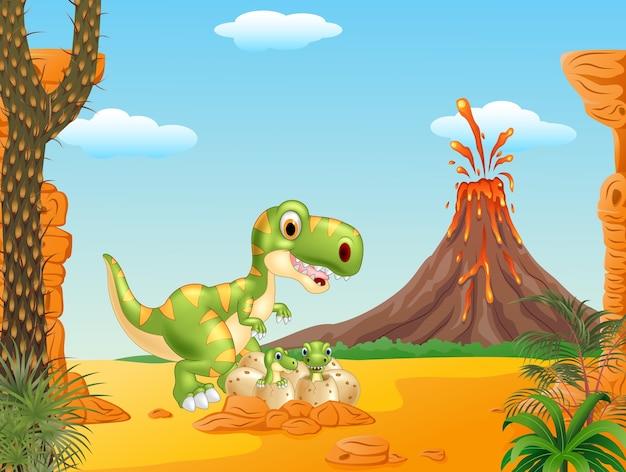 Cartoon mère et bébé dinosaure à couver