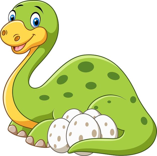 Cartoon mère heureuse avec un dinosaure aux oeufs