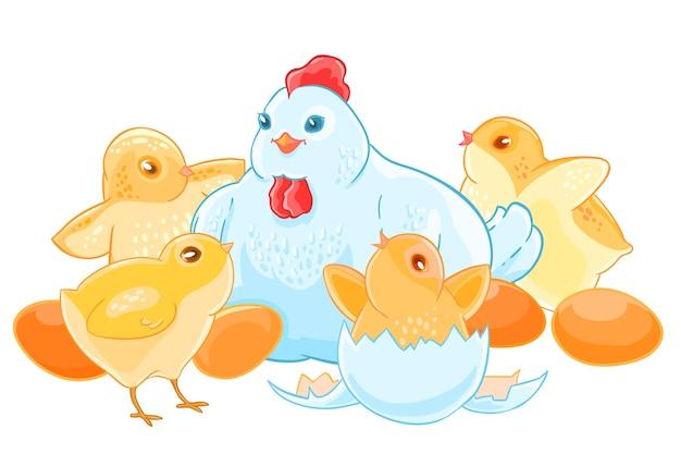 Cartoon mère poule est assis sur les oeufs. brood de mignons petits poussins.