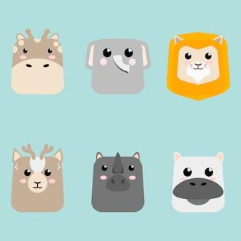 Cartoon mignon bébé animal cartes set icon