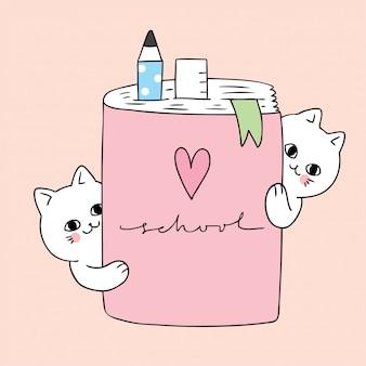 Cartoon mignonne à chat et livre scolaire