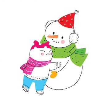 Cartoon mignonne hiver, chat et bonhomme de neige étreignant