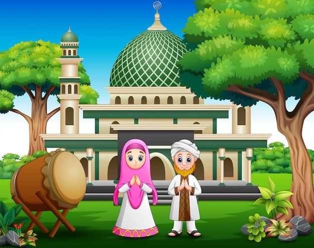 Cartoon musulmans devant la mosquée