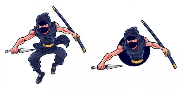 Cartoon ninja kunai