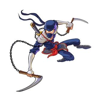 Cartoon ninja scythe