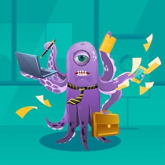 Cartoon octopus moster en tant que patron