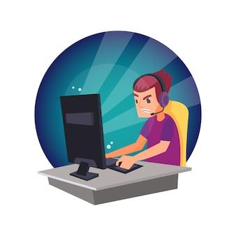 Cartoon of man jouer au jeu vidéo