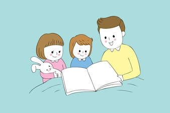 Cartoon papa mignon et bébé vecteur de lecture.