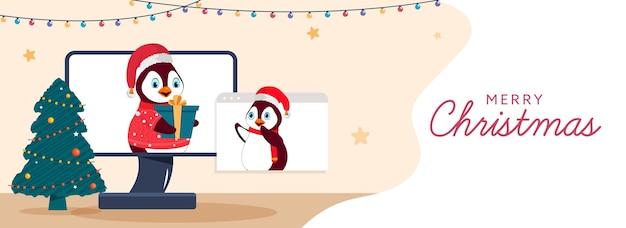 Cartoon penguin donnant un cadeau en ligne à leurs amis via le bureau
