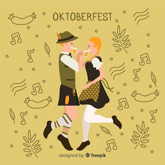 Cartoon people célébrant l'oktoberfest