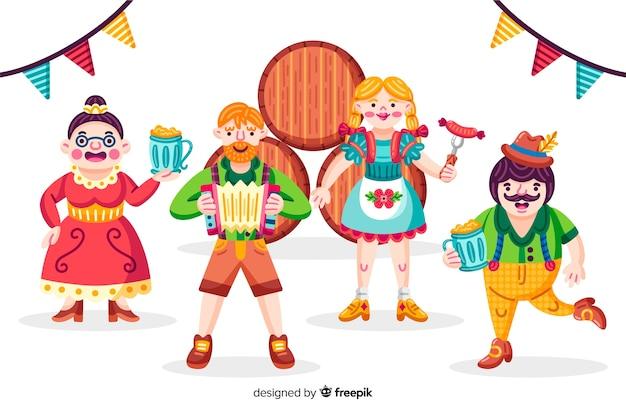 Cartoon people célébrant l'oktoberfest