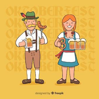 Cartoon personnes buvant et mangeant à l'oktoberfest