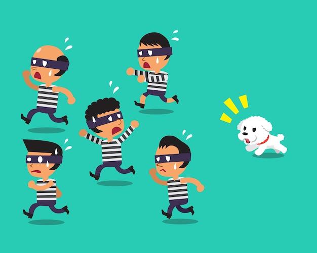 Cartoon un petit chien qui court pour attraper les voleurs