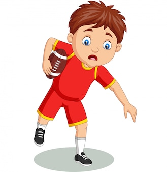 Cartoon petit garçon jouant au rugby