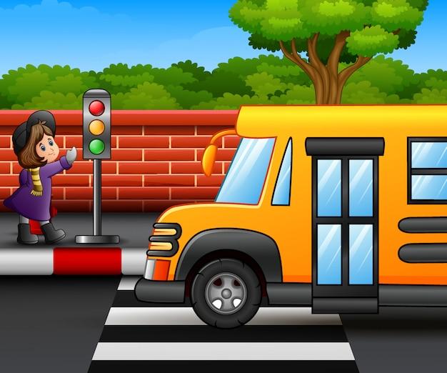 Cartoon petite fille au bord de la route