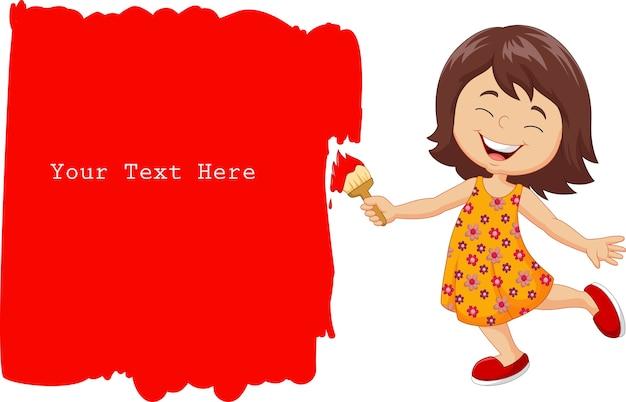 Cartoon petite fille peignant le mur avec la couleur rouge