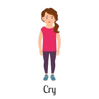 Cartoon petite fille en pleurs