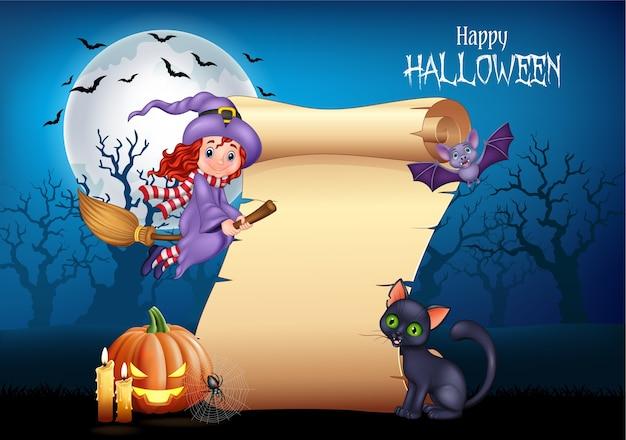 Cartoon petite sorcière volant sur un balai
